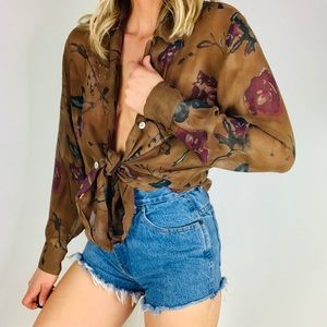 Vintage 100% silk chiffon floral Button down top